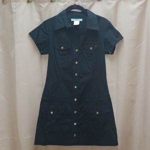 Vintage Marciano Button Down Dress Black S